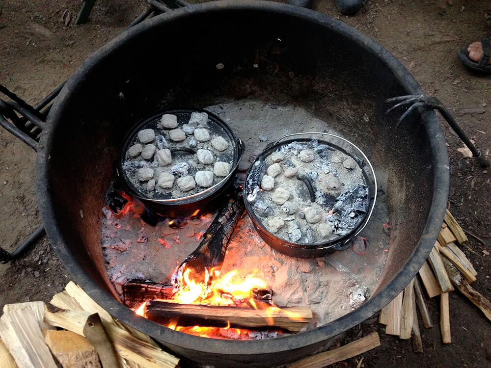 Cooking with coals